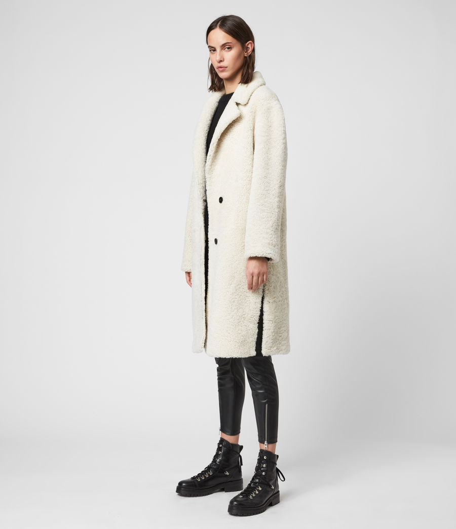 Women's Tia Reversible Shearling Coat (chalk_white_taupe) - Image 3