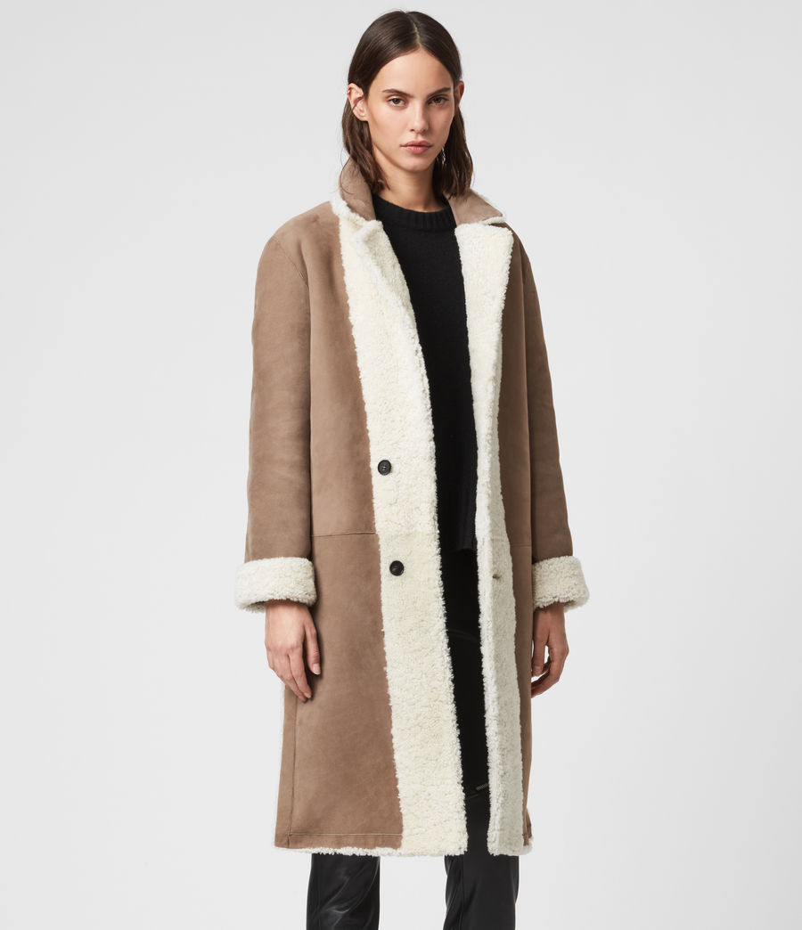 Women's Tia Reversible Shearling Coat (chalk_white_taupe) - Image 4
