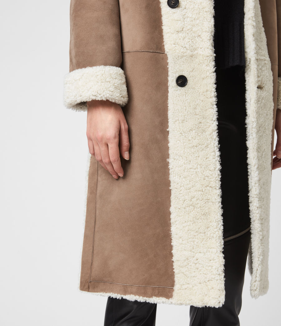 Women's Tia Reversible Shearling Coat (chalk_white_taupe) - Image 5