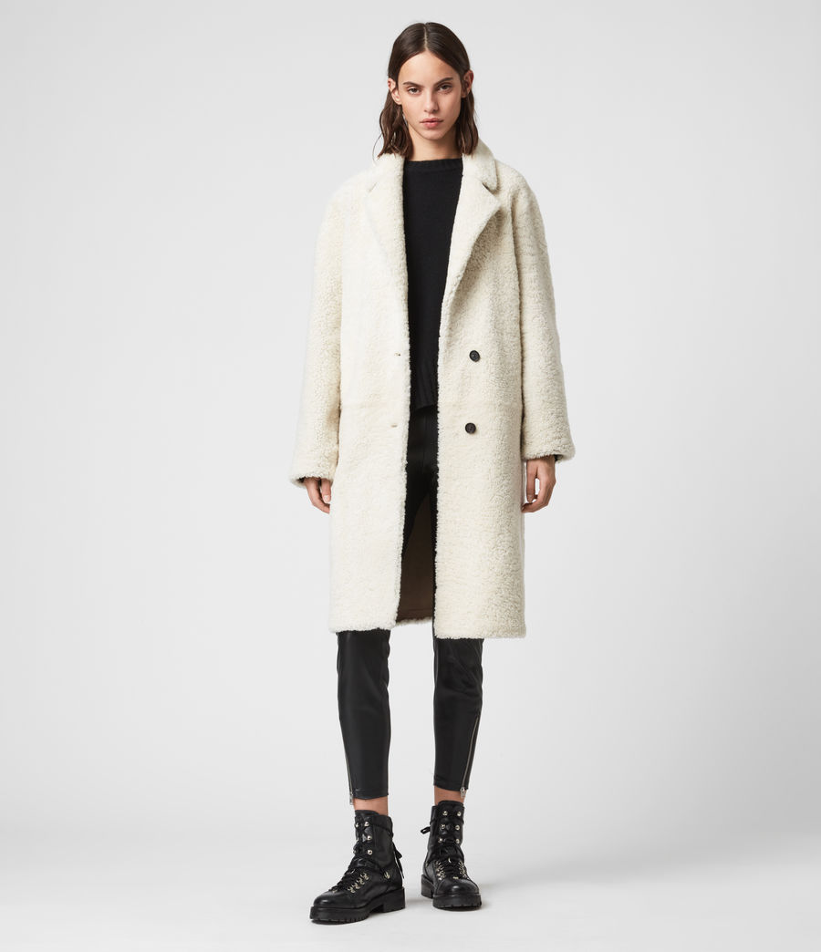 Women's Tia Reversible Shearling Coat (chalk_white_taupe) - Image 7
