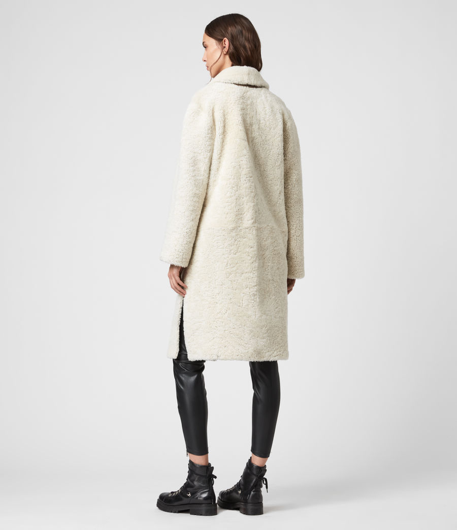Women's Tia Reversible Shearling Coat (chalk_white_taupe) - Image 8