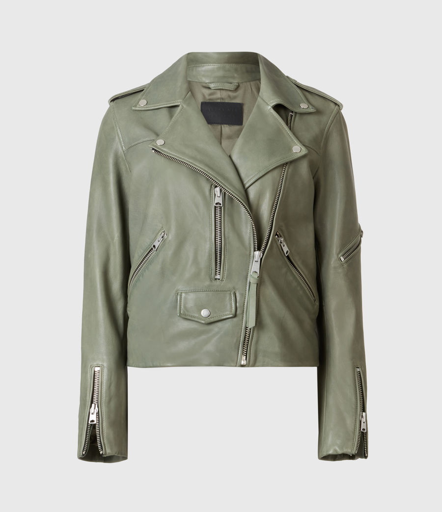 Women's Darnley Leather Biker Jacket (sage_green) - Image 2