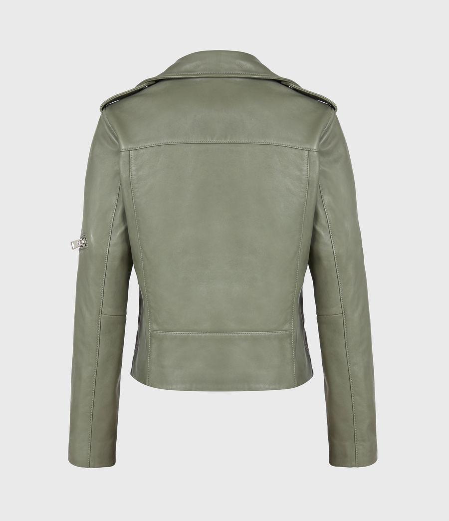 Women's Darnley Leather Biker Jacket (sage_green) - Image 3