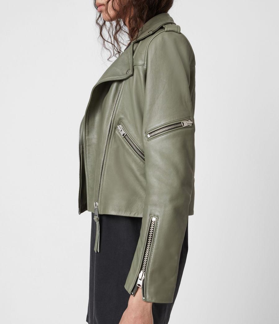Women's Darnley Leather Biker Jacket (sage_green) - Image 4