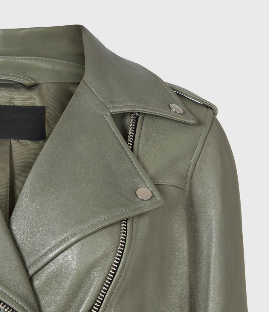 Women's Darnley Leather Biker Jacket (sage_green) - Image 5