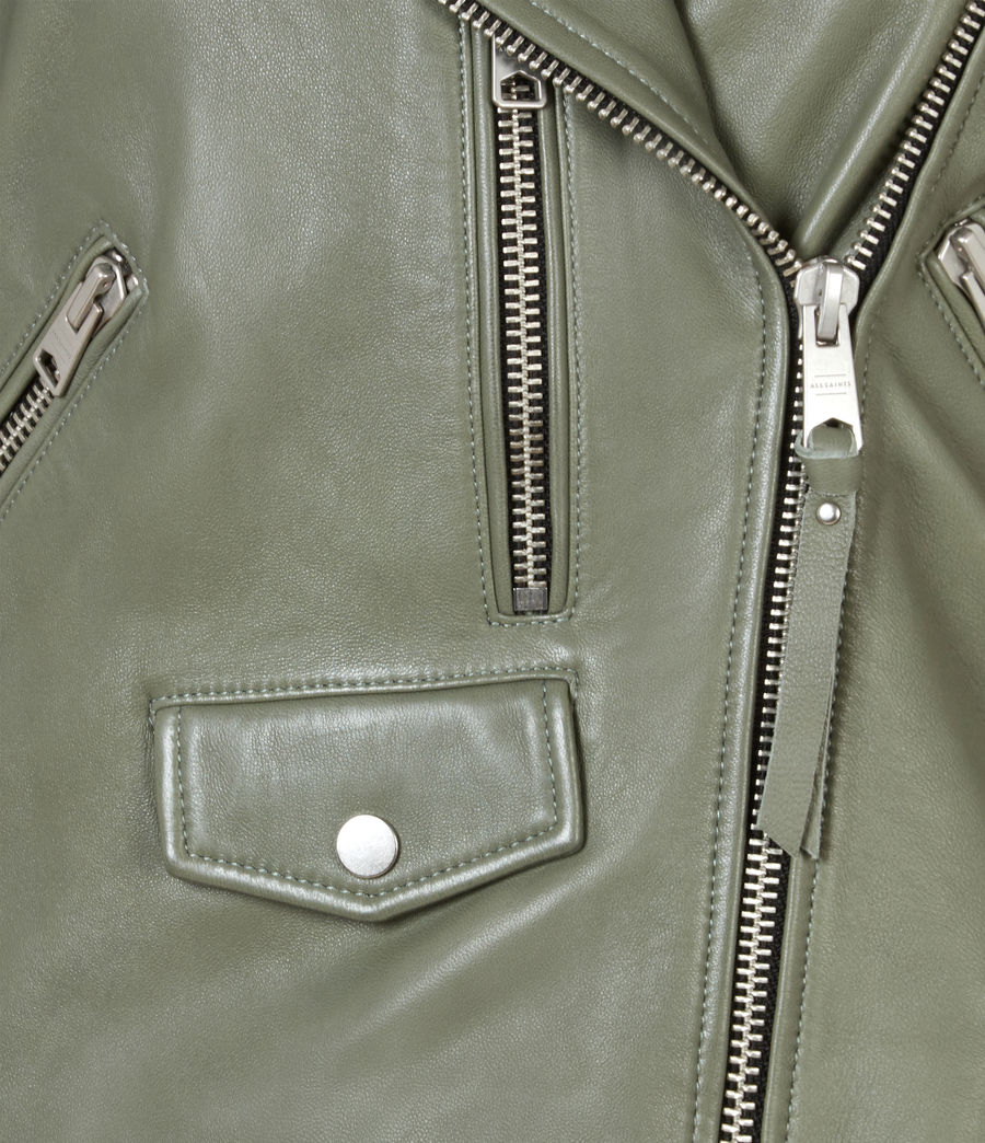 Women's Darnley Leather Biker Jacket (sage_green) - Image 6