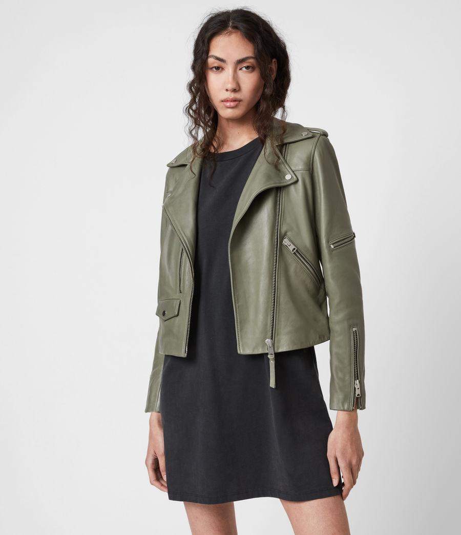 Women's Darnley Leather Biker Jacket (sage_green) - Image 7