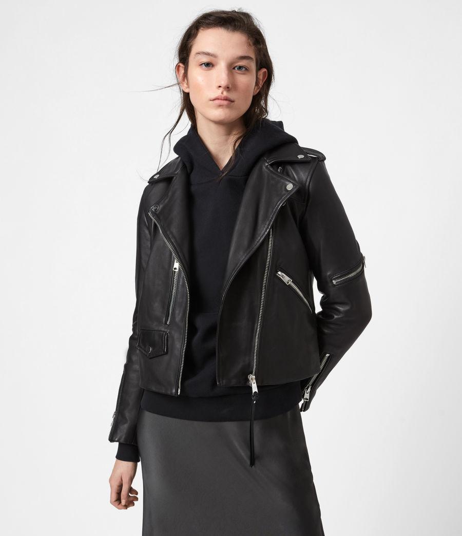 Womens Darnley Leather Biker Jacket (black) - Image 1