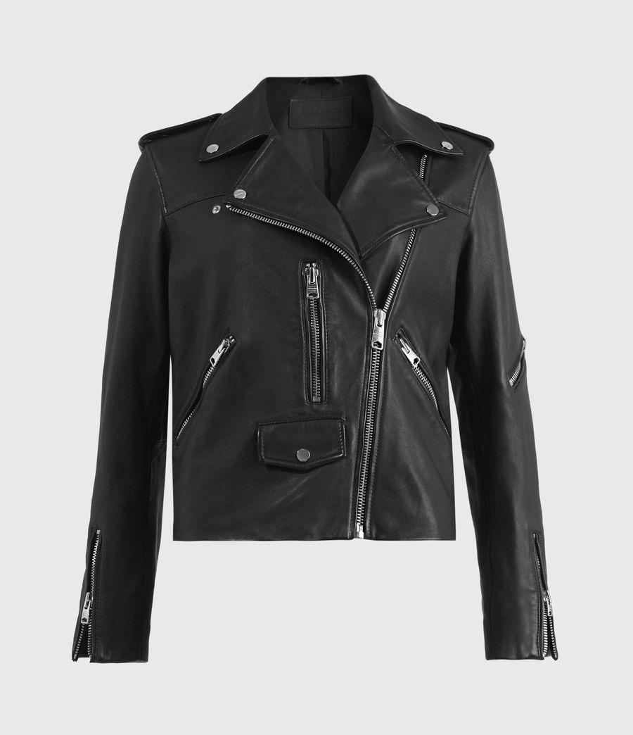 Womens Darnley Leather Biker Jacket (black) - Image 2