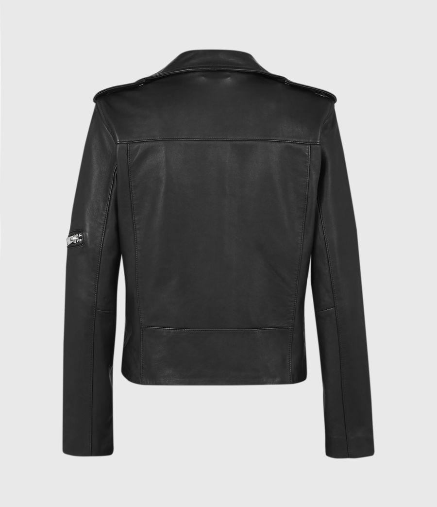 Womens Darnley Leather Biker Jacket (black) - Image 3