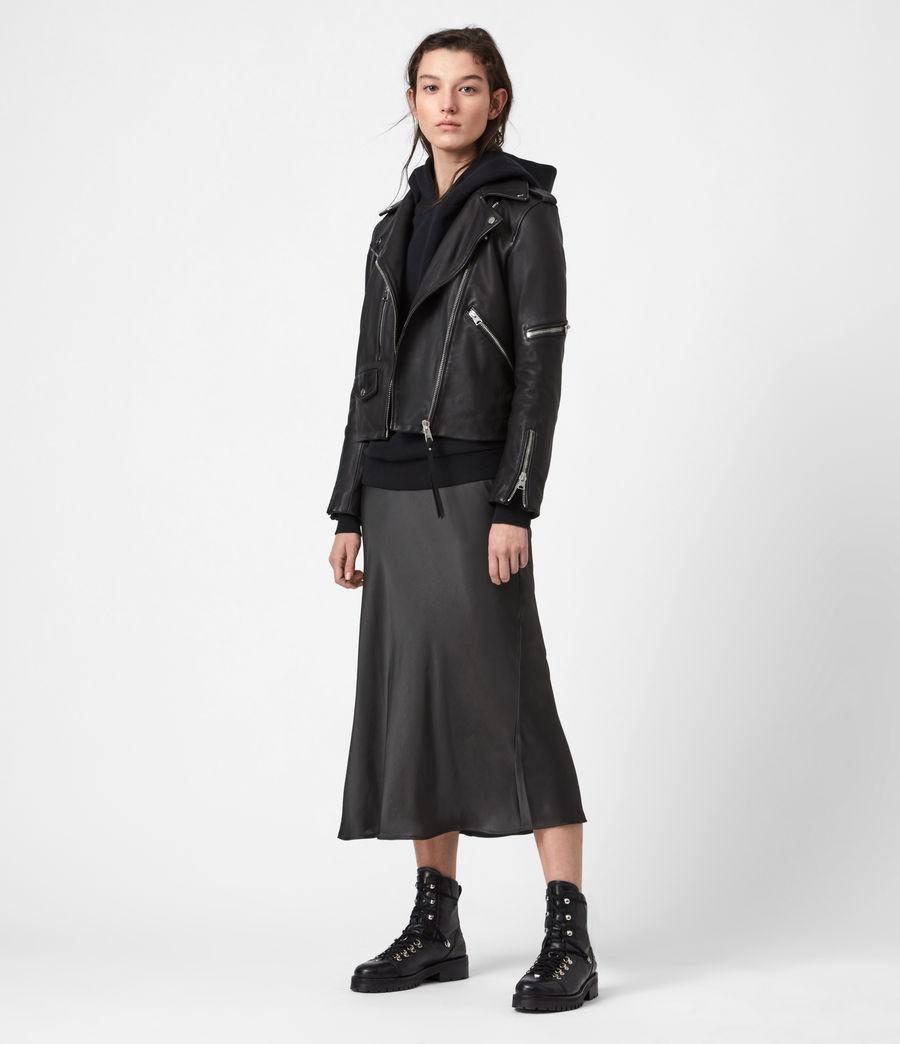 Womens Darnley Leather Biker Jacket (black) - Image 4