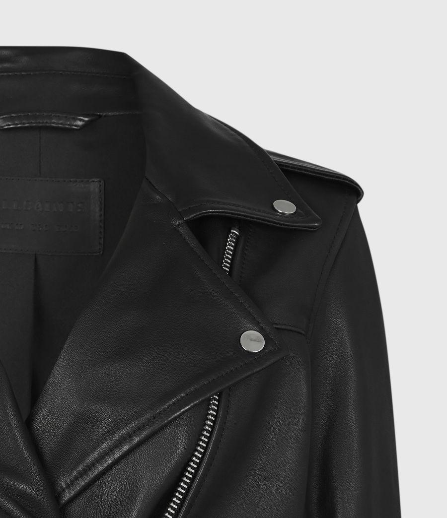 Womens Darnley Leather Biker Jacket (black) - Image 5