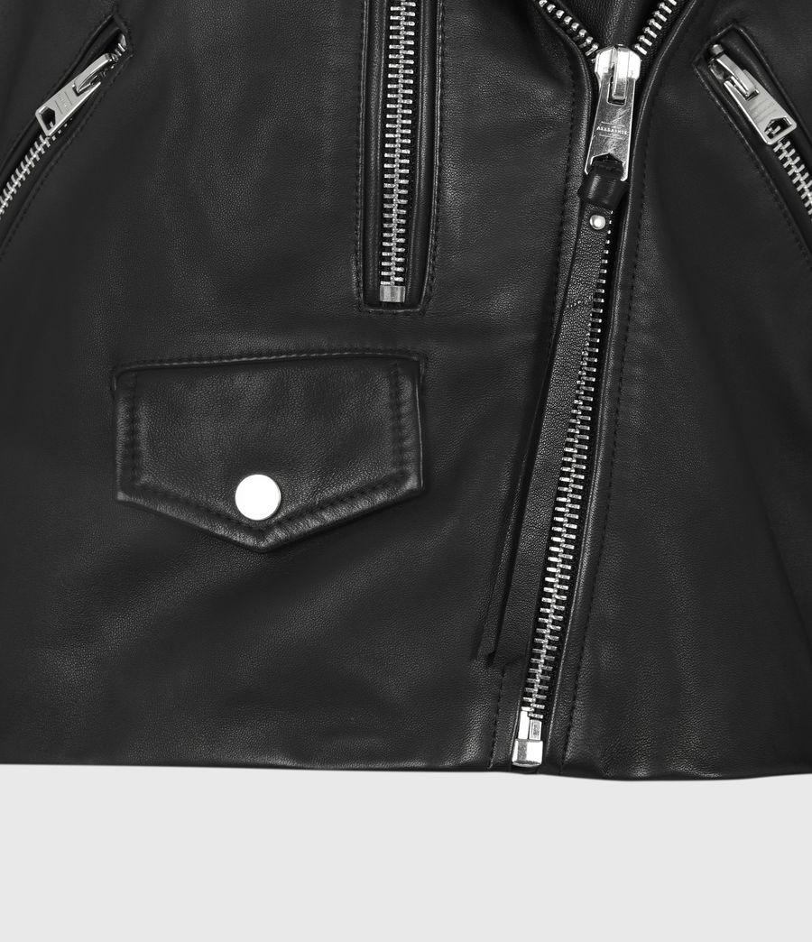 Womens Darnley Leather Biker Jacket (black) - Image 6