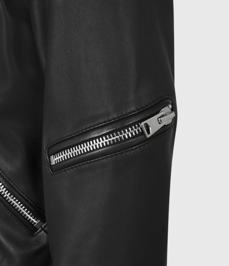 Womens Darnley Leather Biker Jacket (black) - Image 7