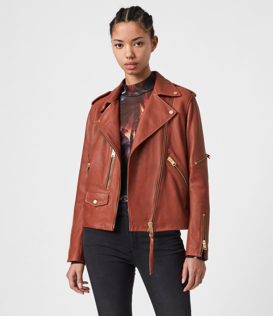Women's Darnley Leather Biker Jacket (burnt_umber_brown) - Image 1