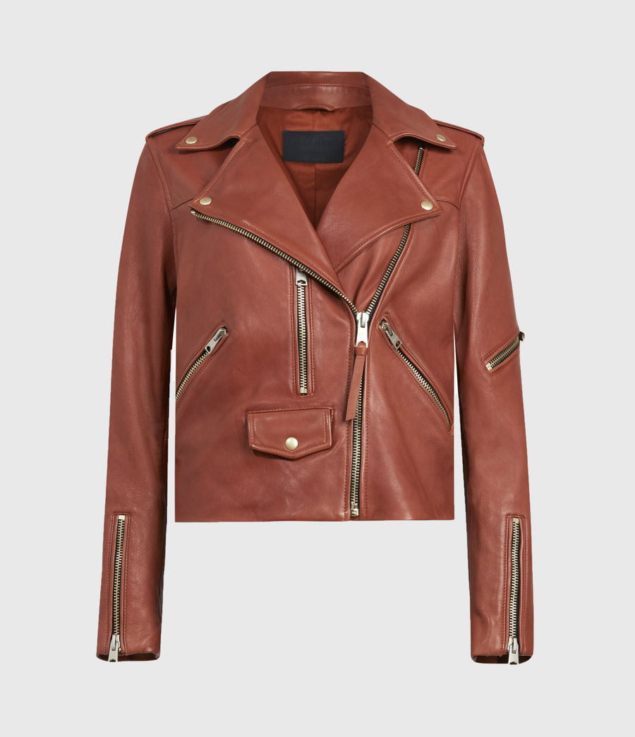 Women's Darnley Leather Biker Jacket (burnt_umber_brown) - Image 2
