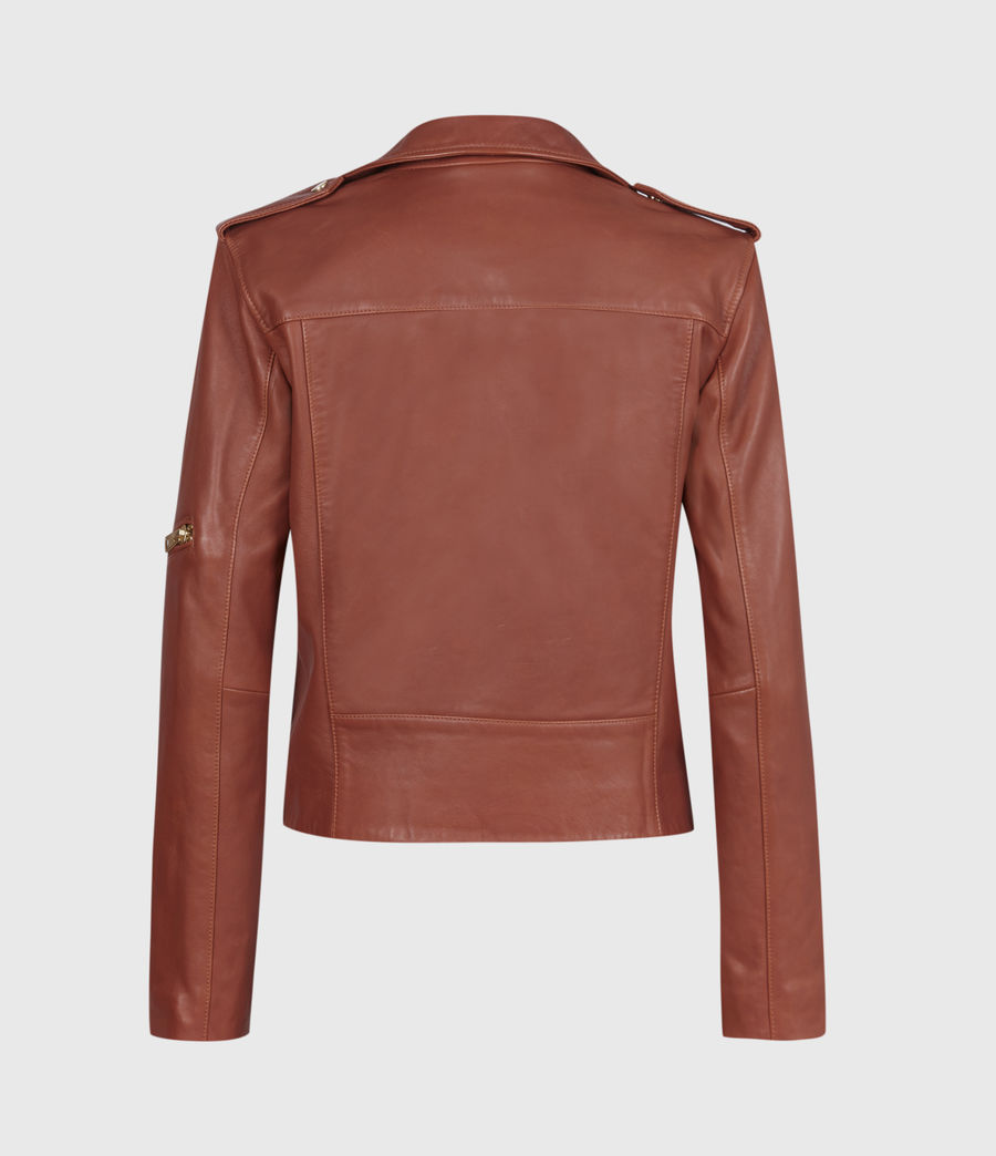 Women's Darnley Leather Biker Jacket (burnt_umber_brown) - Image 3