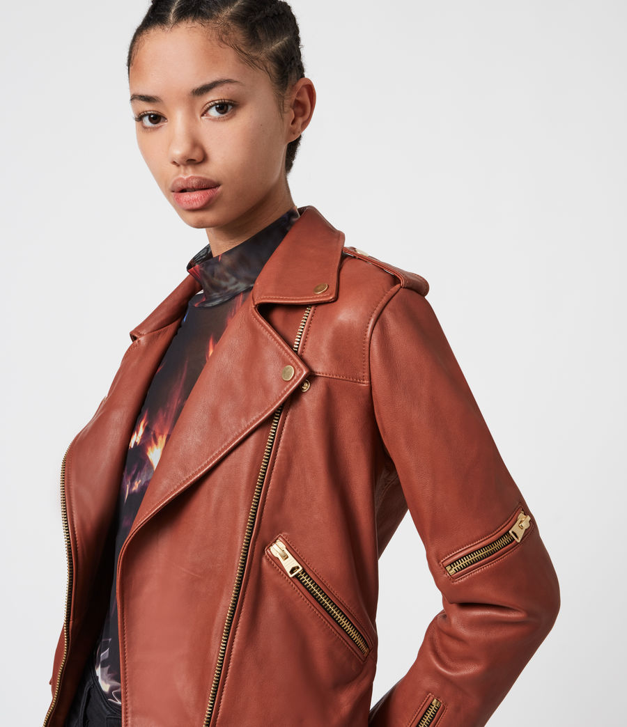 Women's Darnley Leather Biker Jacket (burnt_umber_brown) - Image 4