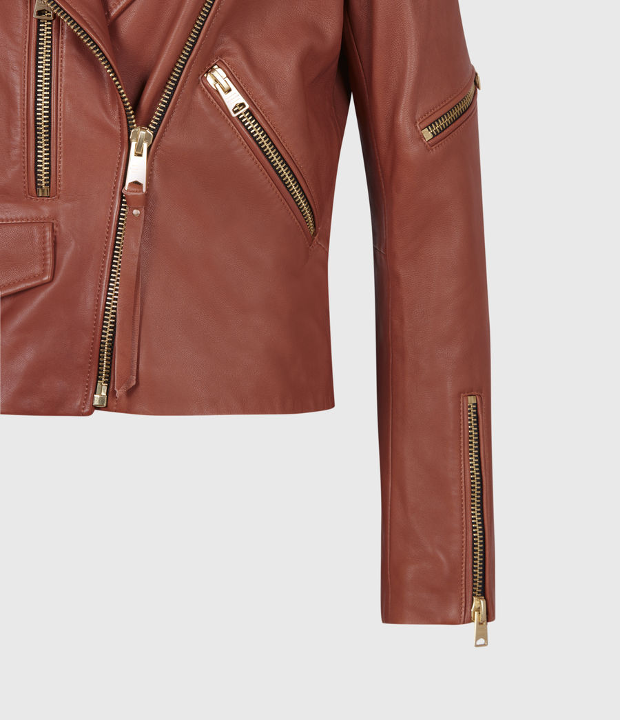 Women's Darnley Leather Biker Jacket (burnt_umber_brown) - Image 6