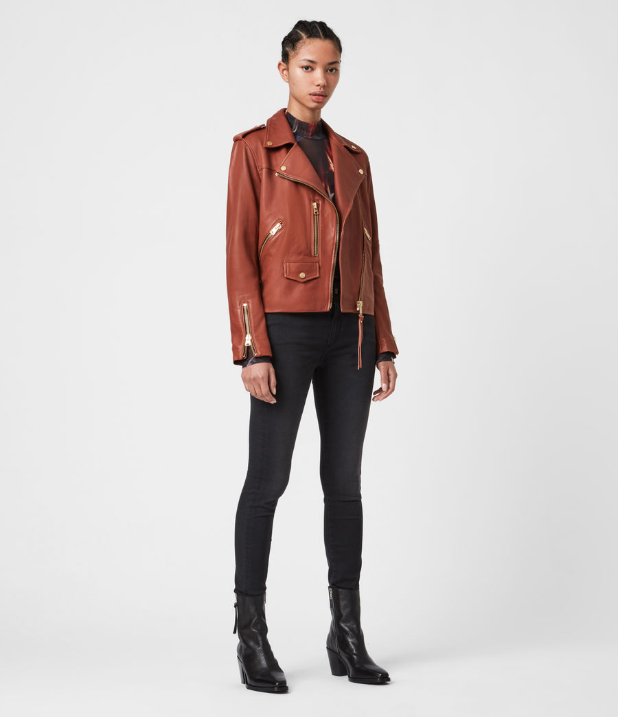 Women's Darnley Leather Biker Jacket (burnt_umber_brown) - Image 7