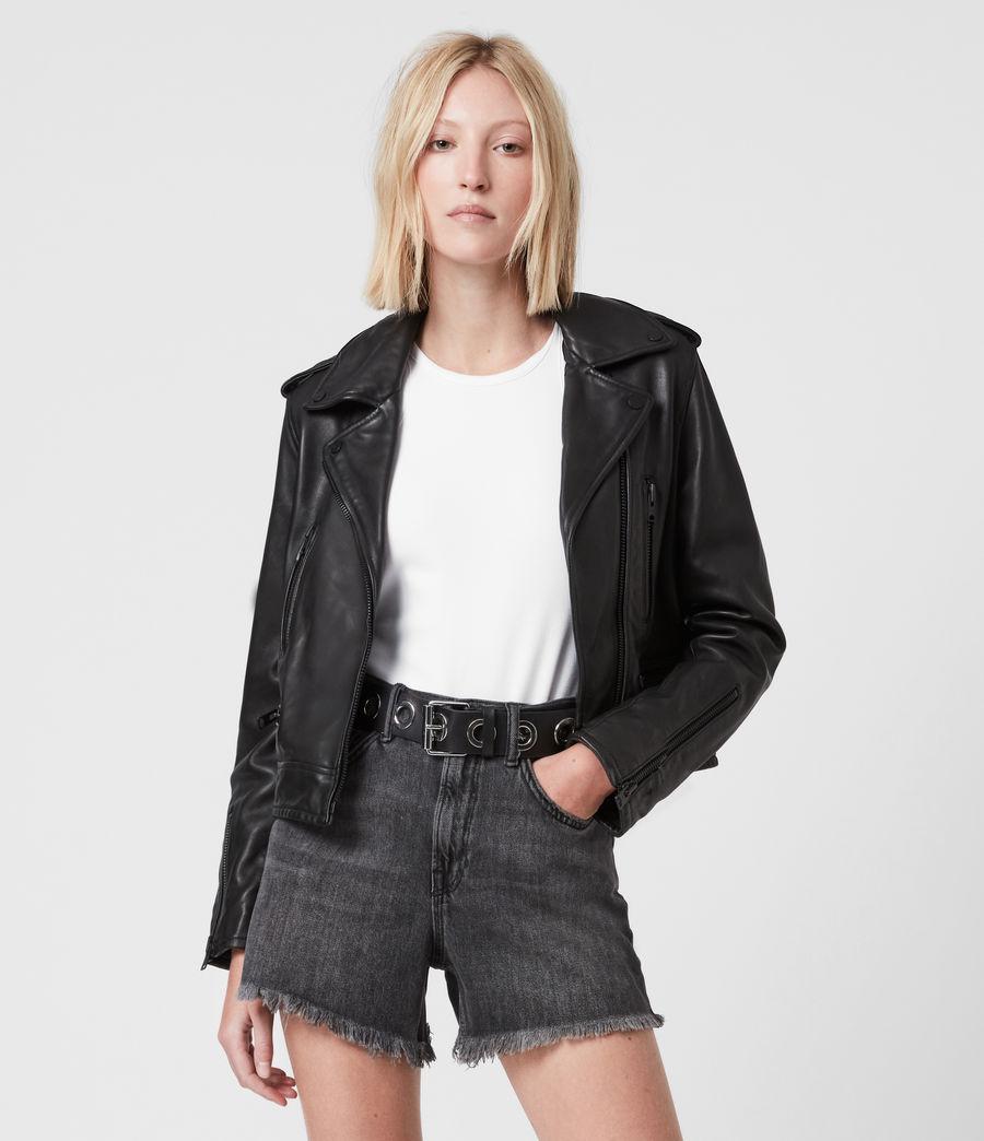 Damen Lindell Leather Biker Jacket (black) - Image 1