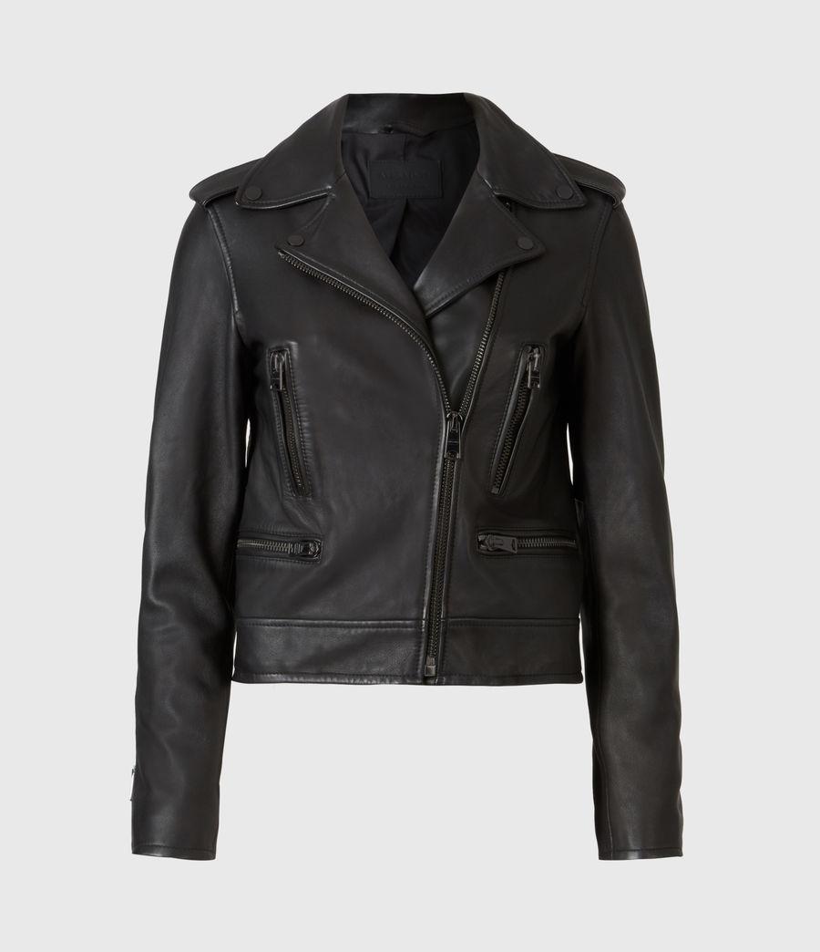 Damen Lindell Leather Biker Jacket (black) - Image 2