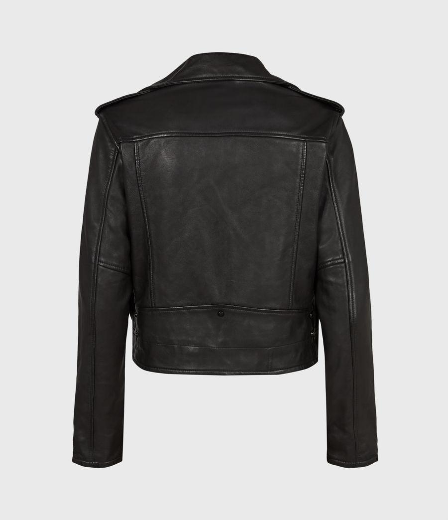 Damen Lindell Leather Biker Jacket (black) - Image 3