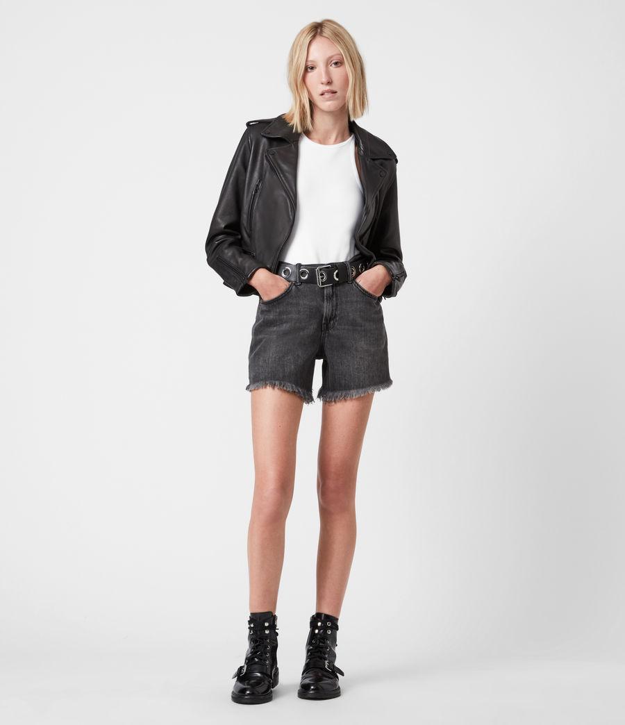 Damen Lindell Leather Biker Jacket (black) - Image 4