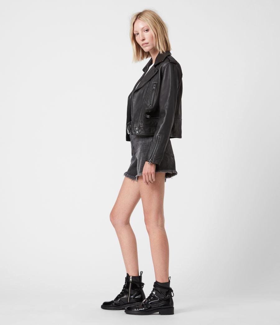 Damen Lindell Leather Biker Jacket (black) - Image 7