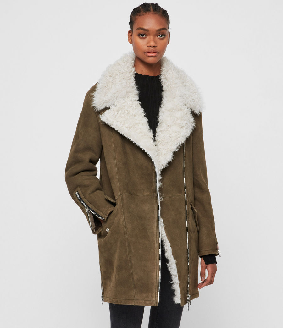 Womens Zeta Shearling Coat (khaki_chalk_white) - Image 1