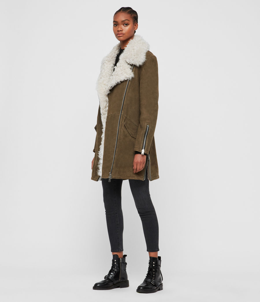 Womens Zeta Shearling Coat (khaki_chalk_white) - Image 3