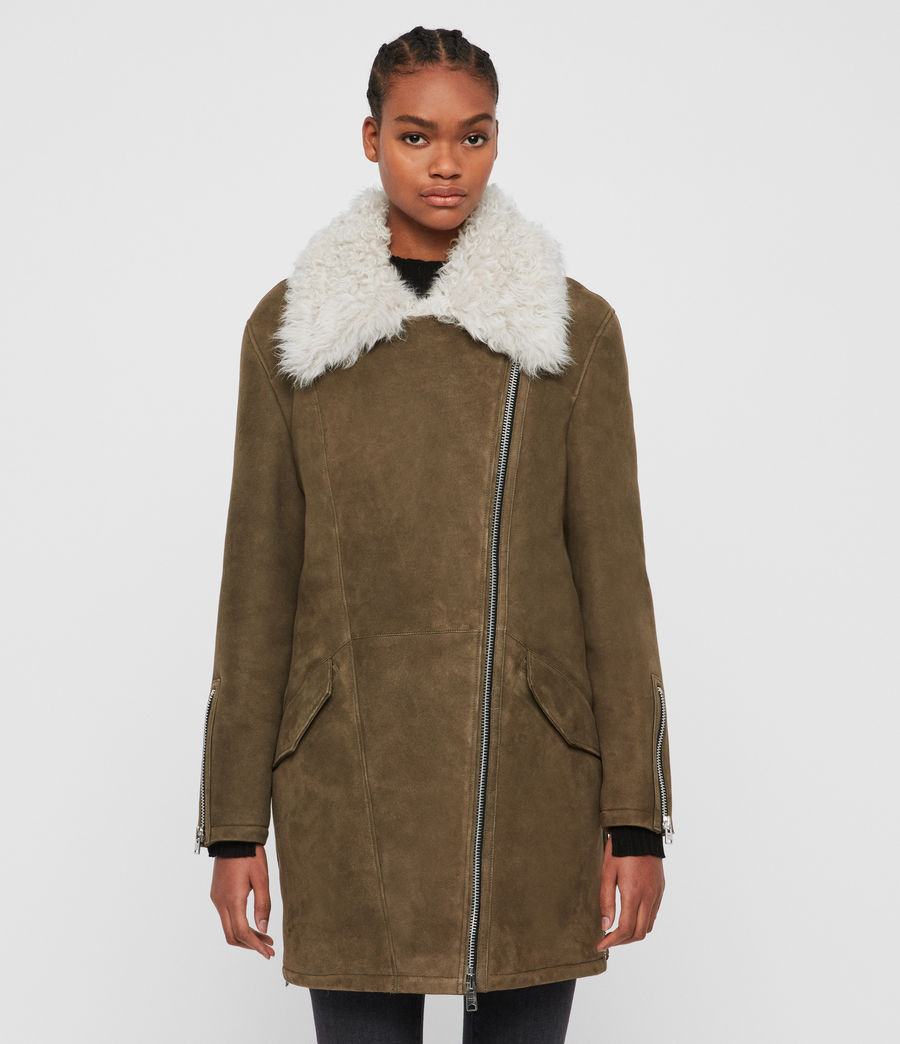 Women's Zeta Shearling Coat (khaki_chalk_white) - Image 4