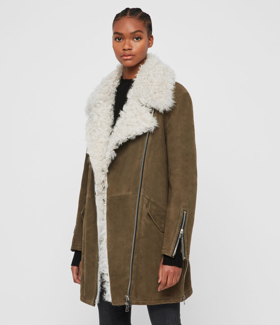 Womens Zeta Shearling Coat (khaki_chalk_white) - Image 5