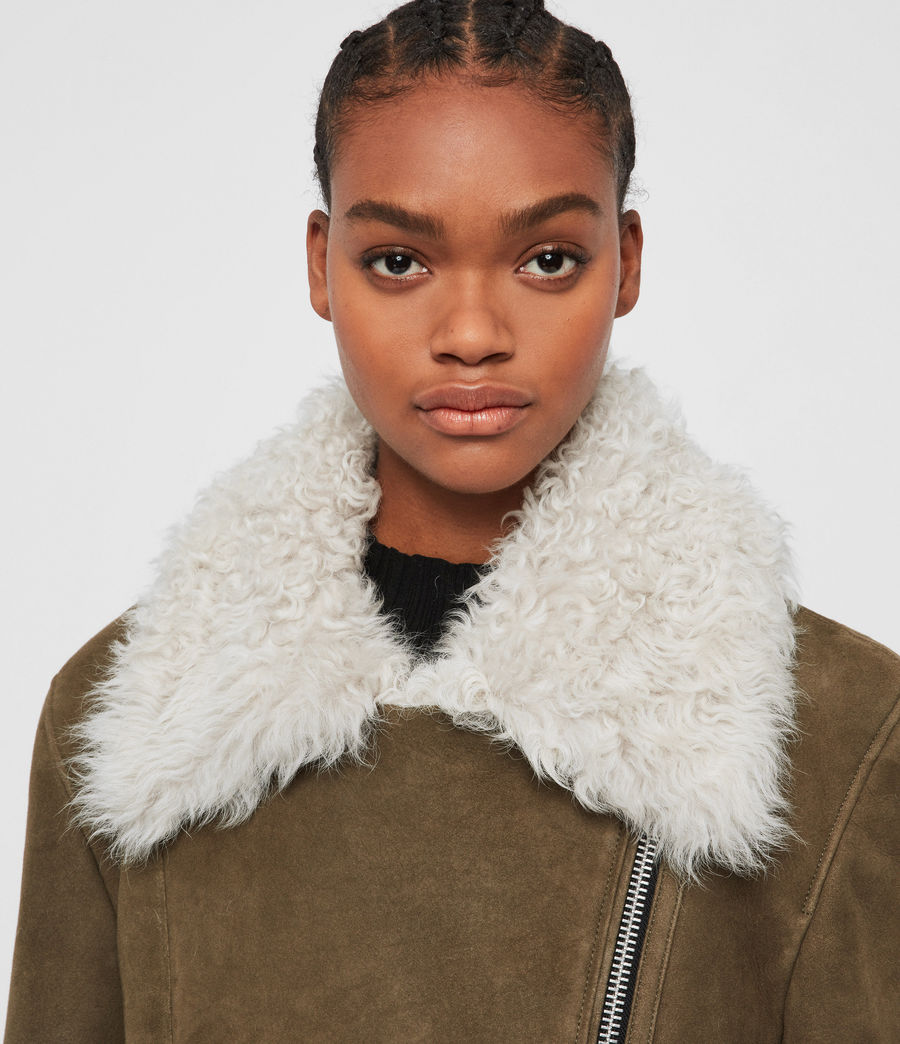 Women's Zeta Shearling Coat (khaki_chalk_white) - Image 6