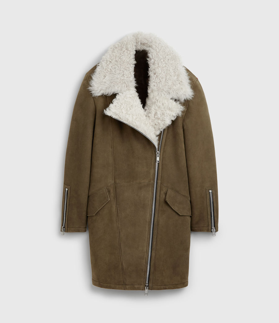 Women's Zeta Shearling Coat (khaki_chalk_white) - Image 8