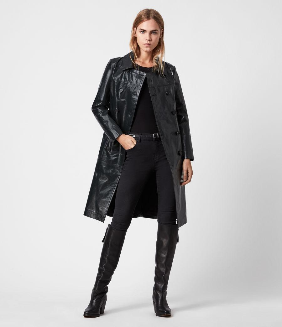 Women's Carine Leather Coat (black) - Image 1