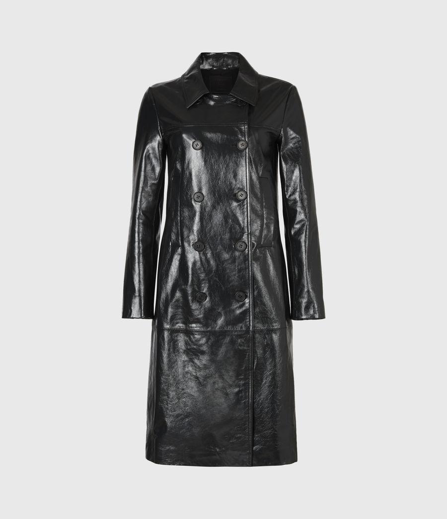 Women's Carine Leather Coat (black) - Image 2