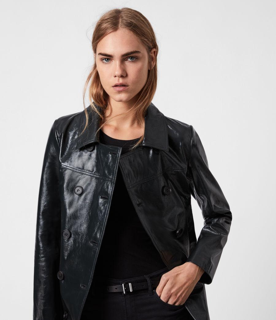 Women's Carine Leather Coat (black) - Image 4