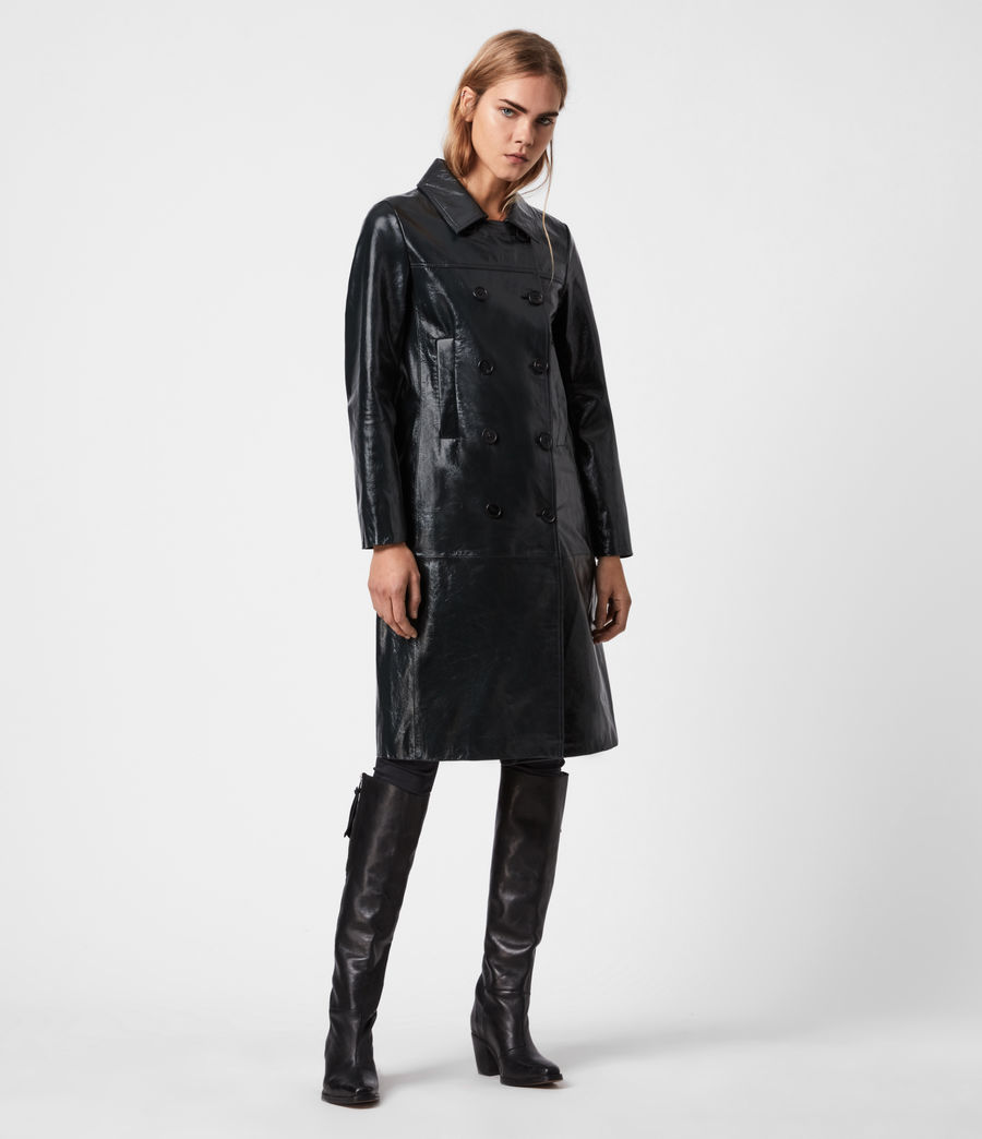 Women's Carine Leather Coat (black) - Image 6