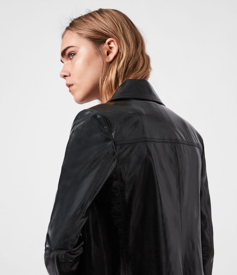 Women's Carine Leather Coat (black) - Image 7