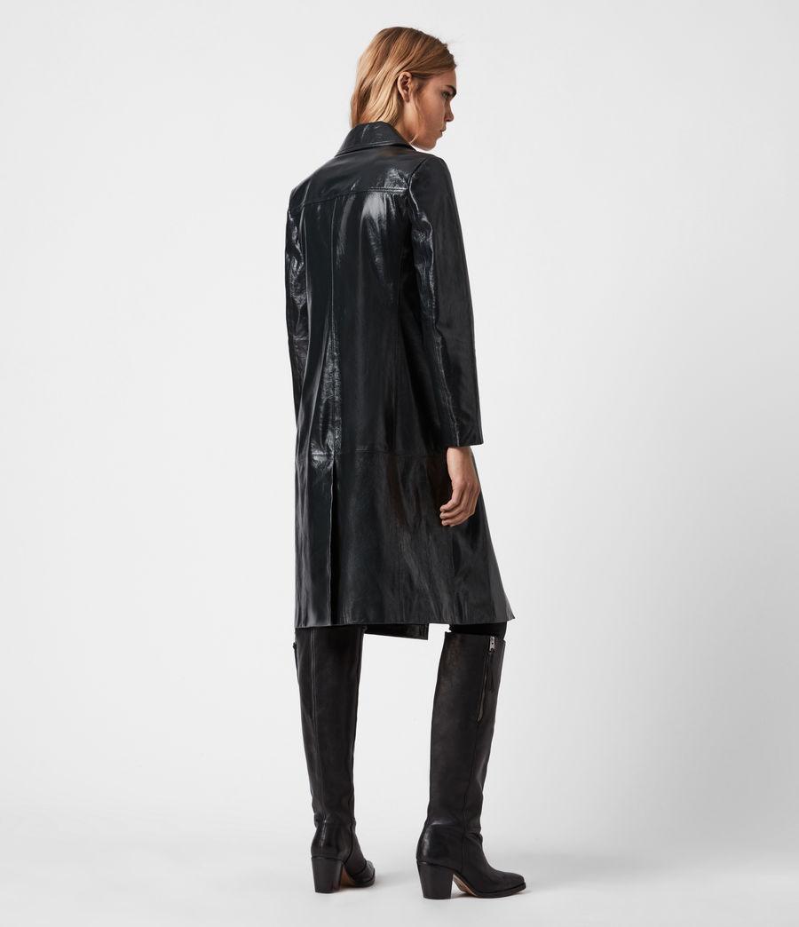 Women's Carine Leather Coat (black) - Image 8
