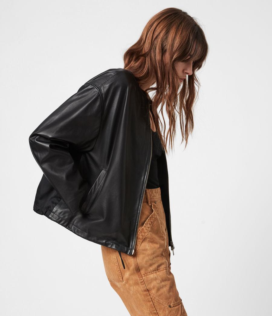 Damen Della Leather Bomber Jacket (black) - Image 1