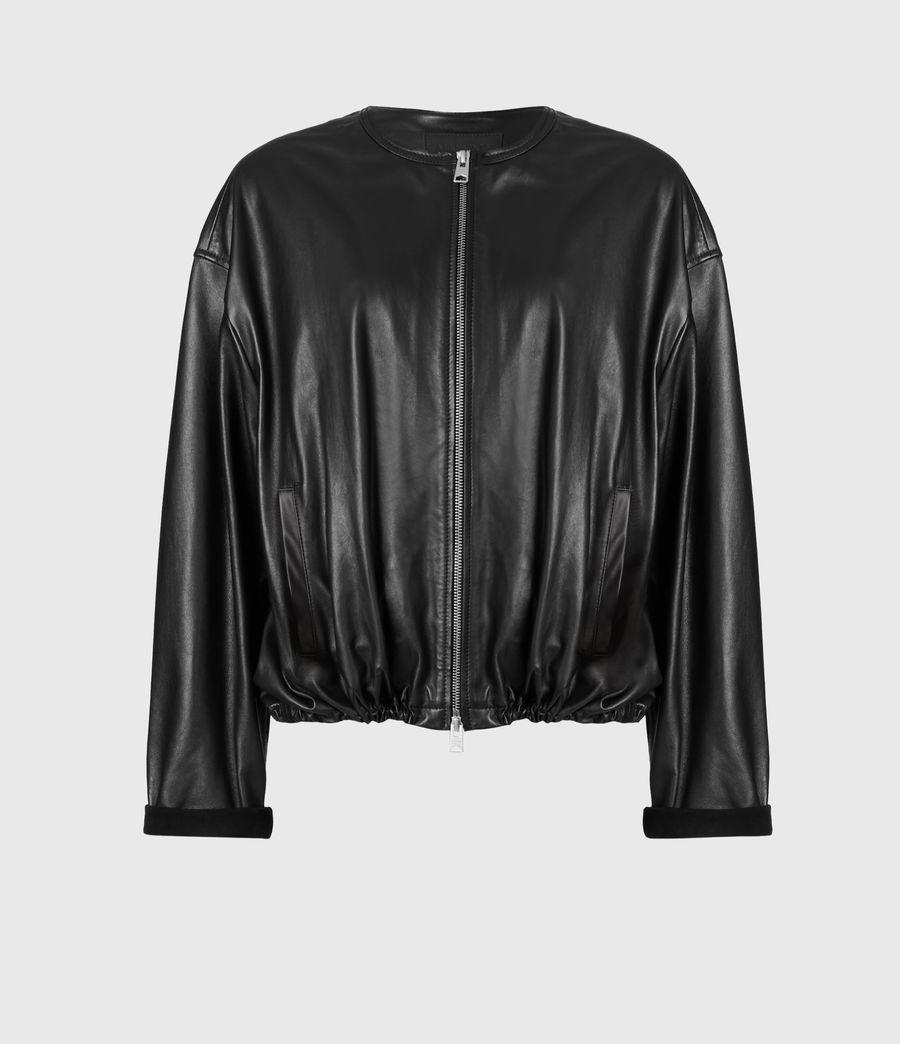 Damen Della Leather Bomber Jacket (black) - Image 2