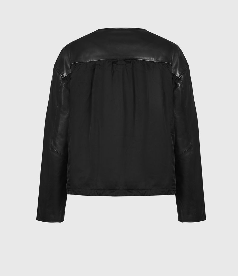 Damen Della Leather Bomber Jacket (black) - Image 3
