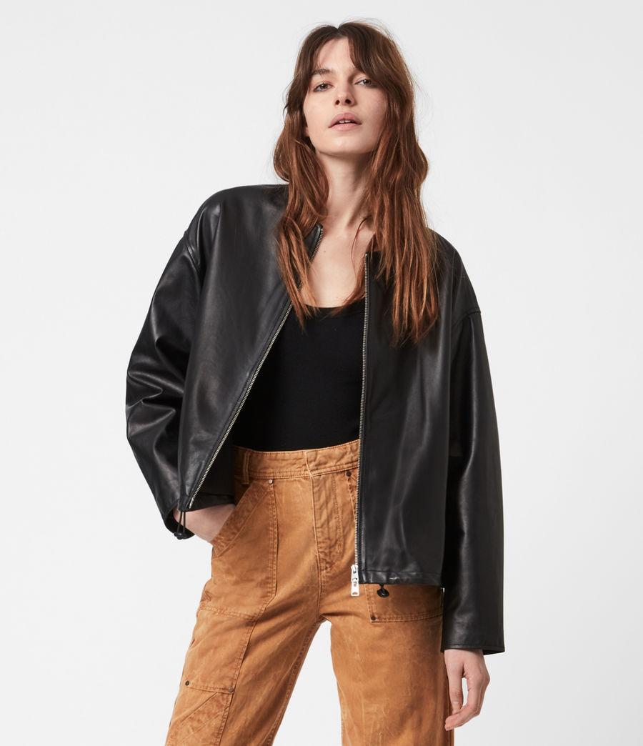 Damen Della Leather Bomber Jacket (black) - Image 4
