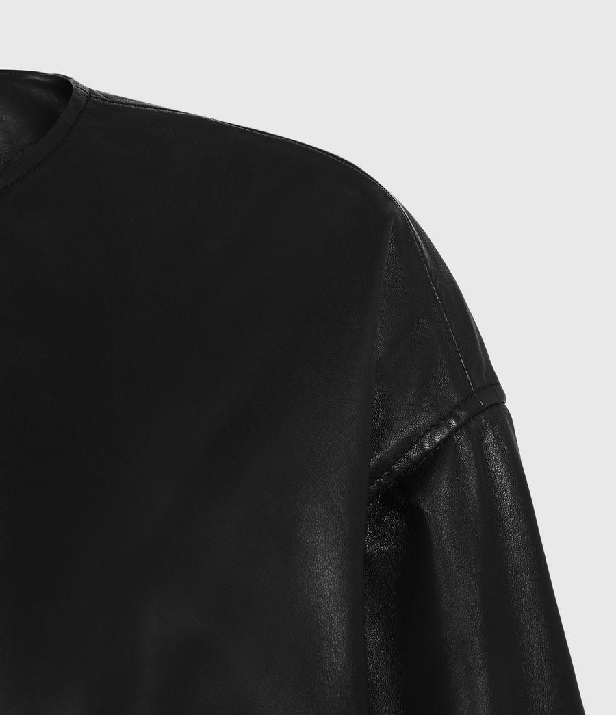 Damen Della Leather Bomber Jacket (black) - Image 5