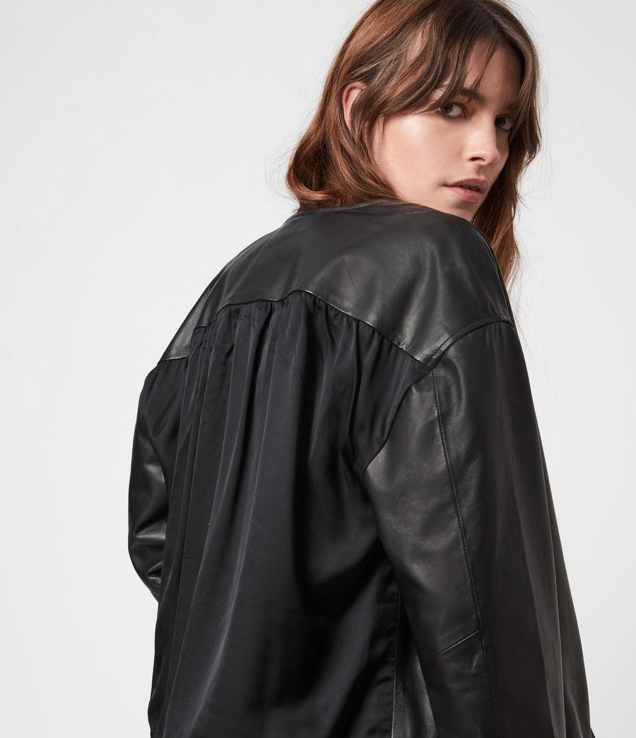 Damen Della Leather Bomber Jacket (black) - Image 7