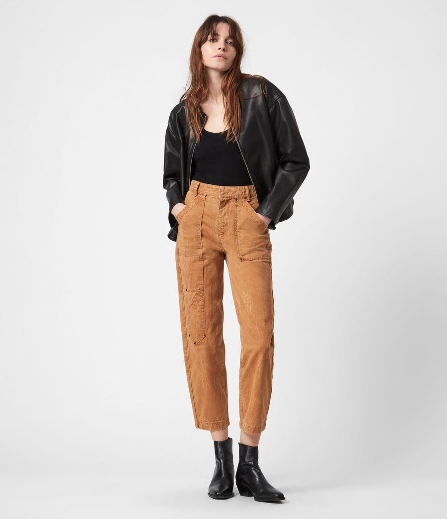 Damen Della Leather Bomber Jacket (black) - Image 8