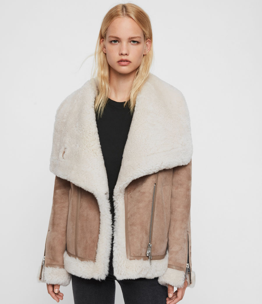 Women's Harlow Shearling Jacket (toffee_ecru_white) - Image 1