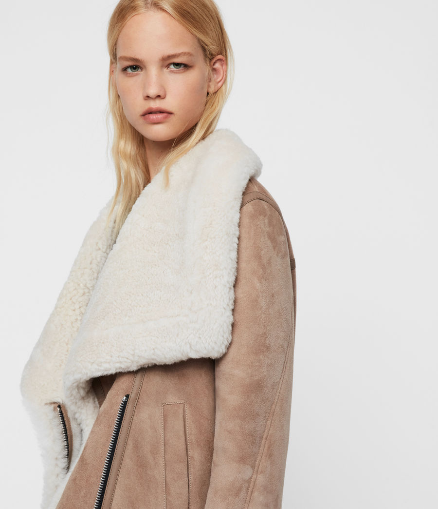 Women's Harlow Shearling Jacket (toffee_ecru_white) - Image 2